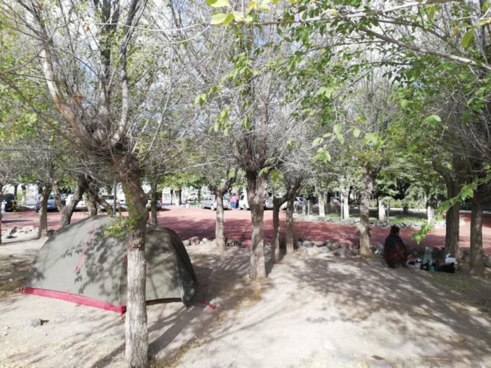 Zelt zwischen Bäumen