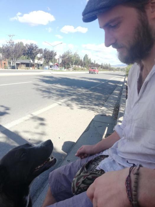 David diskutiert mit dem Hund