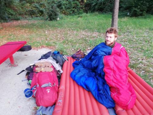 Unser Camp auf einem Rastplatz